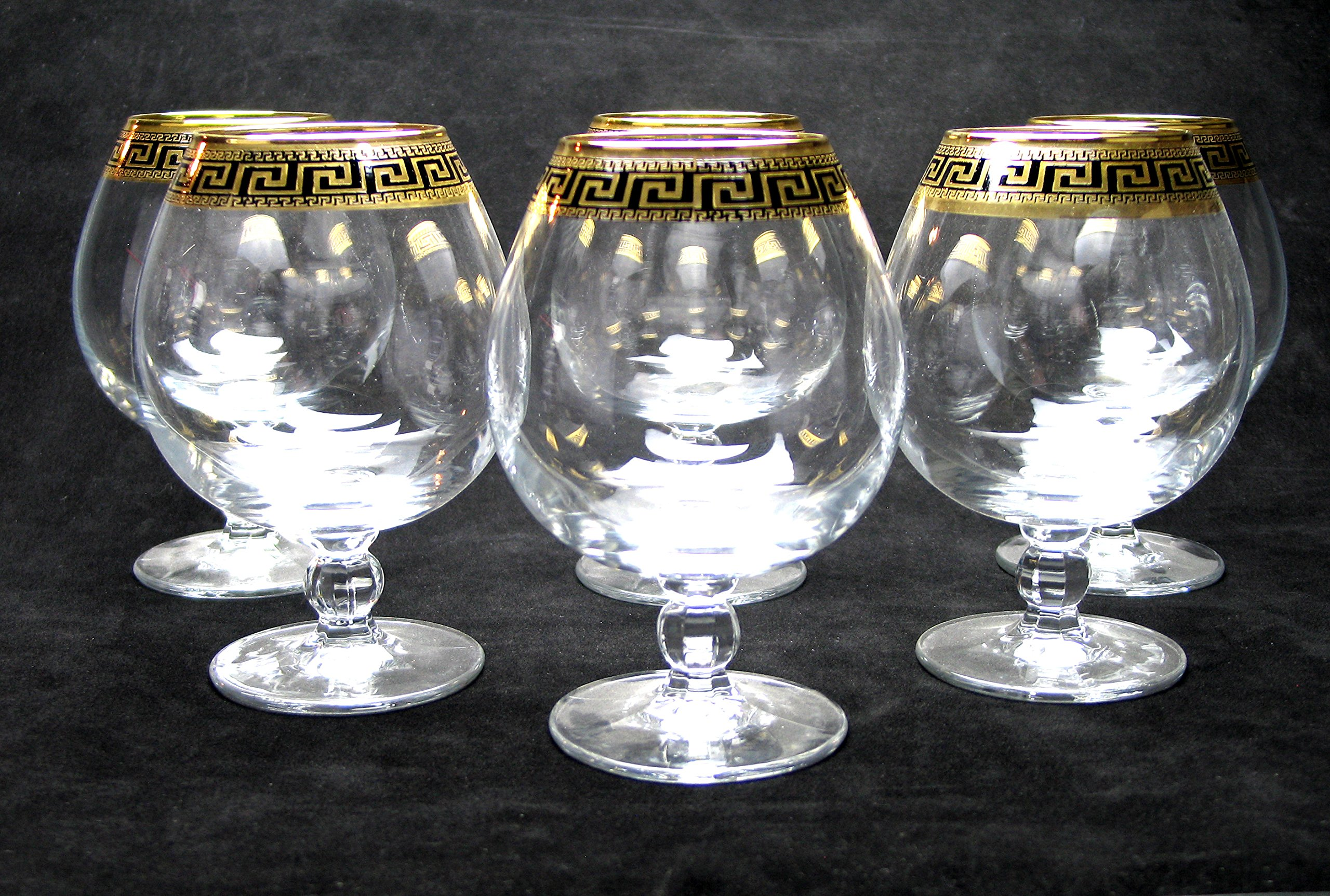 ''Cristalleria Italian Decor'' Crystal Cognac Brandy Snifter Goblet, 17 oz. Gold and Black Greek Key Ornament, Hand Made in Italy, SET OF 6 Glasses by Cristalleria Italian Decor (Image #4)