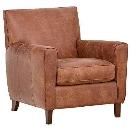 Enjoyable Rivet Lawson Mid Century Modern Angled Leather Arm Chair 33W Saddle Brown Pabps2019 Chair Design Images Pabps2019Com