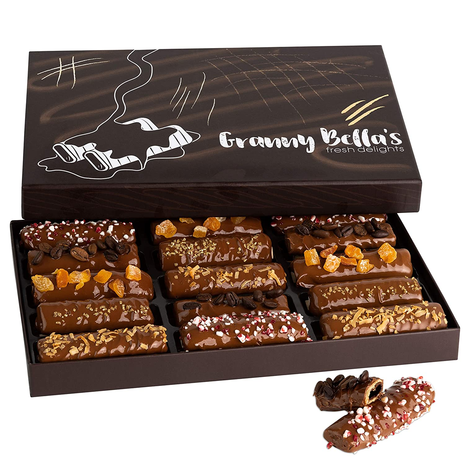 Granny Bella's Gourmet Chocolate Dipped Wafers | 15 Cookies Filled with Hazelnut Cream | Food Sweets Gift Baskets | Prime Holiday, Christmas & Valentines Day Gifts | Birthday Treats for Men & Women