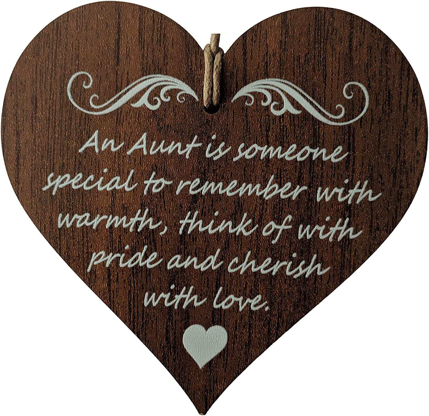 Wooden & Antique - an Aunt is Someone Special to Remember with Warmth, Think of with Pride and Cherish with Love. - Wooden Hanging Heart Plaque-Sign Gift