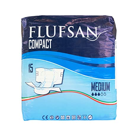 COMPACT FLUFSAN COMPACT All In One Pañales MEDIANOS Pañales SIN LATEX 40 - 70 KG,