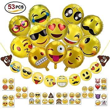 Konsait 18 Zoll Emoji Party Luftballons Folienballon Helium Ballons