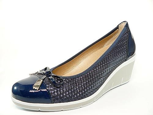Zapato casual mujer salon con lazo en piel trenzada Azul Marino comb. Charol Marino de PITILLOS cuña con plataforma - 1024 - 554: Amazon.es: Zapatos y ...