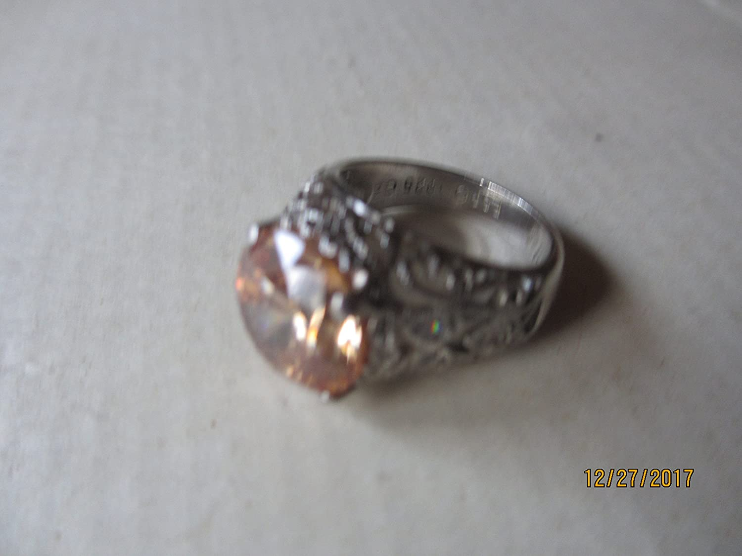 ART DECO 925 STERLING SILVER ANTIQUE STYLE CUBIC ZIRCONIA RING #1148