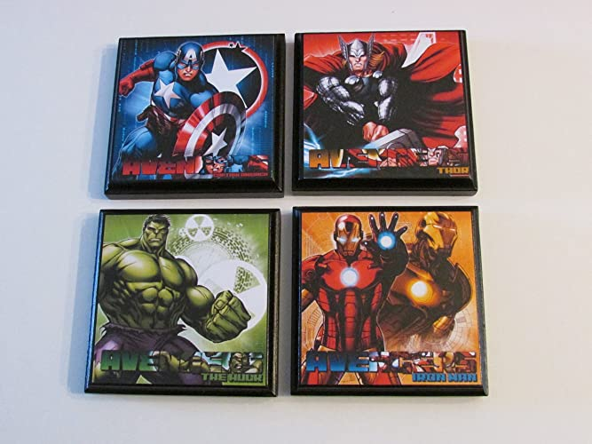 Superior Avengers Room Wall Plaques   Set Of 4 Avengers Boys Room Decor   Avengers  Wall Signs