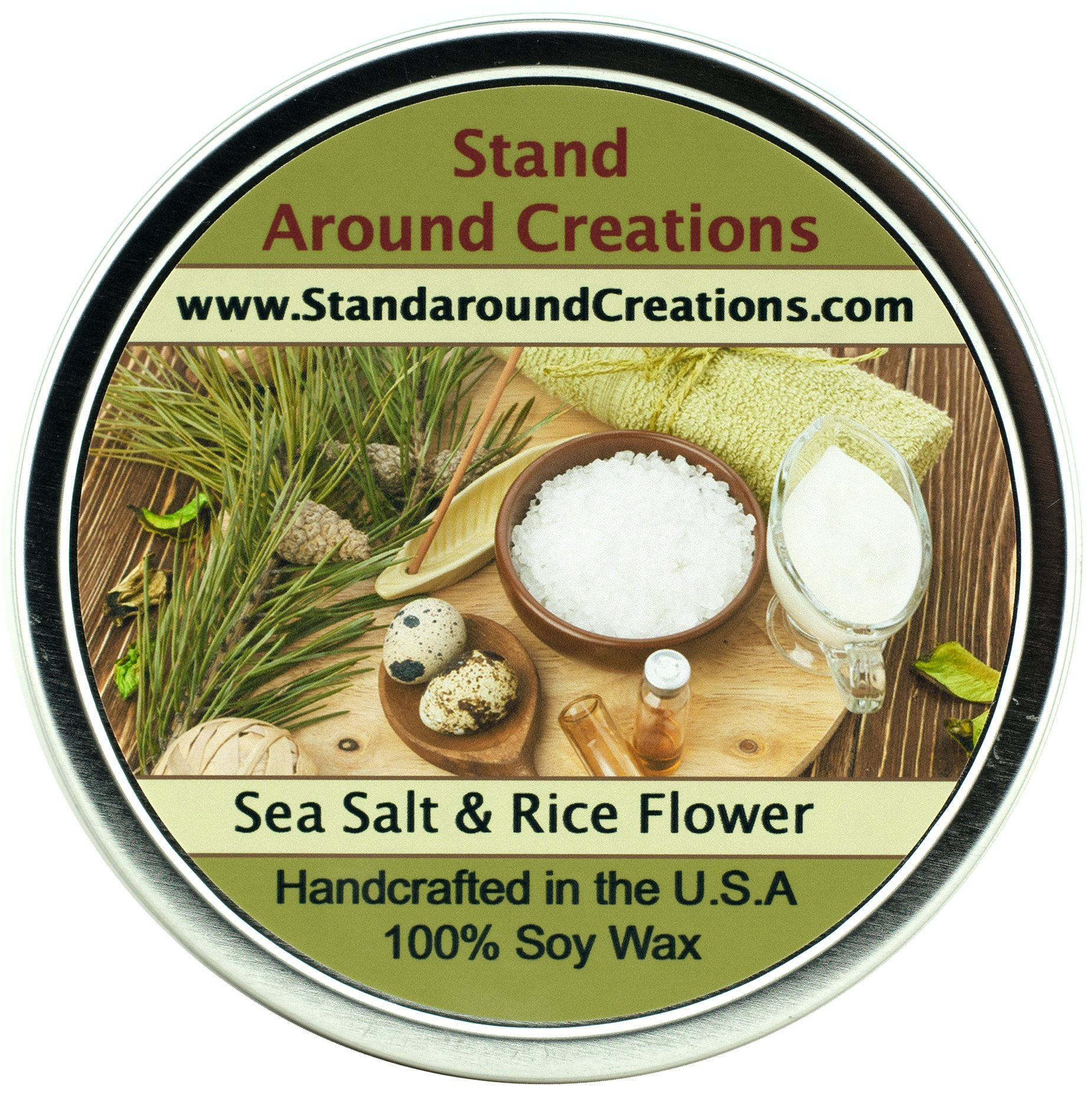 Premium 100% Soy Candle 16 oz.Tin- Sea Salt & Rice Flower - A clean, spa scent - citrus,cotton blossom, jasmine, grey sea salt, bamboo leaves w/ musk.