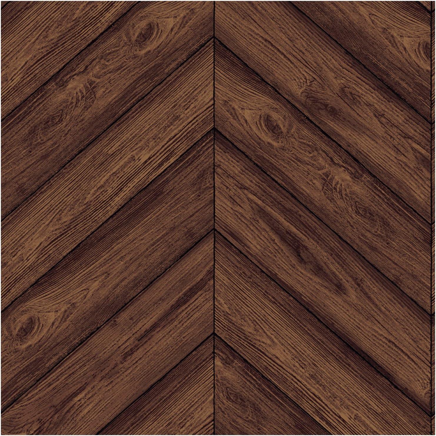 Tempaper Walnut Herringbone Designer Removable Peel And Stick Wallpaper Amazon Com