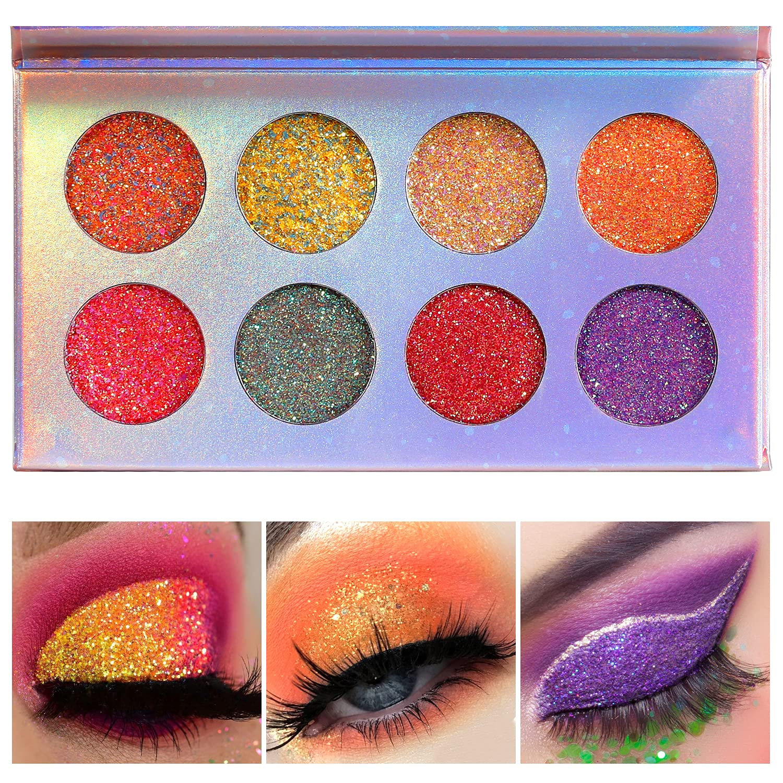 Glitter Eyeshadow Palette,Pressed Neon Glow Sparkly Glitter Eye Shadow Pallet,DE'LANCI Professional Glow High Pigmented Waterproof Luminous Glitter Makeup Palettes,Ultra Sparkly for Eye Face Body