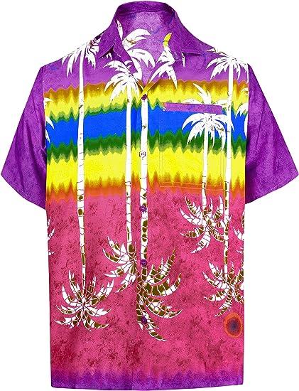 LA LEELA Casual Hawaiana Camisa para Hombre Señores Manga Corta Bolsillo Delantero Vacaciones Verano Hawaiian Shirt 4XL-(in cms):162-167 Violeta_W398: Amazon.es: Ropa y accesorios
