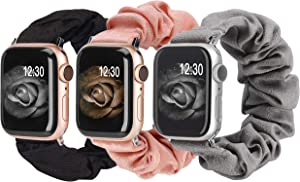 TOYOUTHS 3 Packs Compatible with Apple Watch Band Scrunchies 38mm Cloth Soft Pattern Printed Fabric Bracelet Women IWatch Elastic Scrunchy Bands 40mm Series SE 6 5 4 3 2 1(Black/Grey/Pink L)