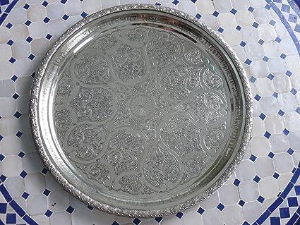 Artesanía oriental rareza bandeja de té Marruecos plateado, hecho a mano-antigüedad única Ø