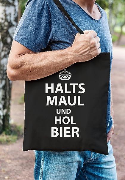 Jutebeutel Halts Maul und hol Bier Spruch Fun Party Stoffbeutel Tragetasche