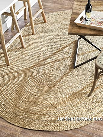 Jai Shri Shyam,Natural Jute Braided Area Rug/Carpet/Handmade Floor Rug 3×5 ft