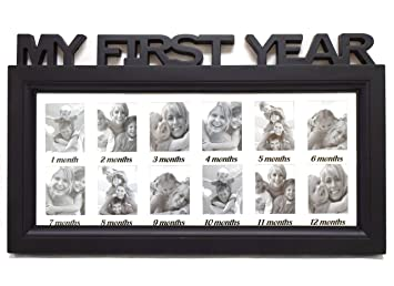 Amazon.com : Black/White Frame Baby's First Year Timeline Collage ...