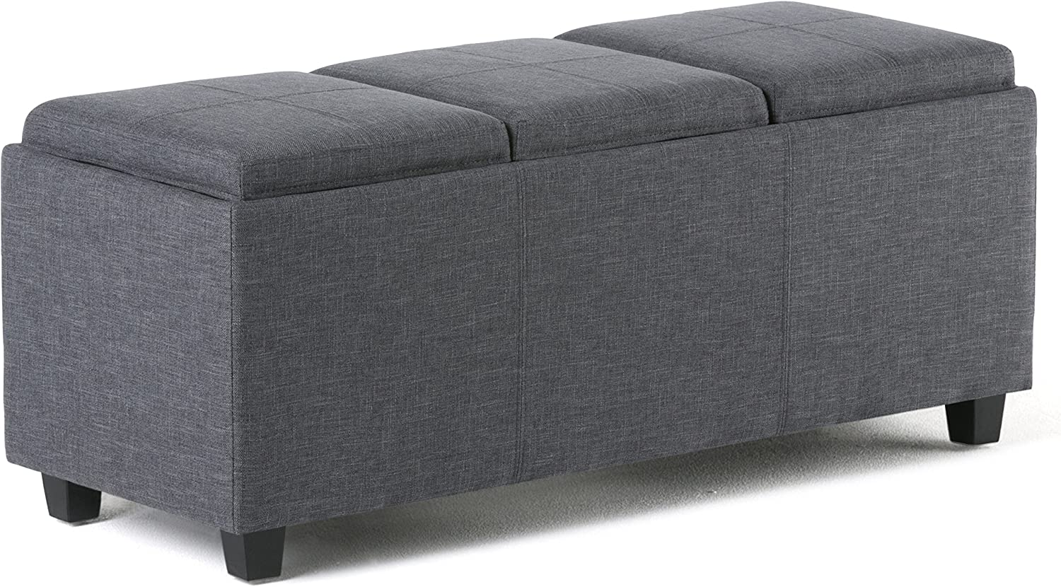 Simpli Home 3AXCAVA-OTTBNCH-02-GL Avalon 42 inch Wide ContemporaryStorage Ottoman in Slate Grey Linen Look Fabric