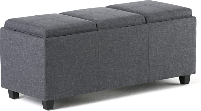 Amazon Com Simplihome Avalon 42 Inch Wide Rectangle Storage Ottoman In Upholstered Slate Grey Linen Look Fabric Coffee Table For The Living Room Bedroom Contemporary Furniture Decor