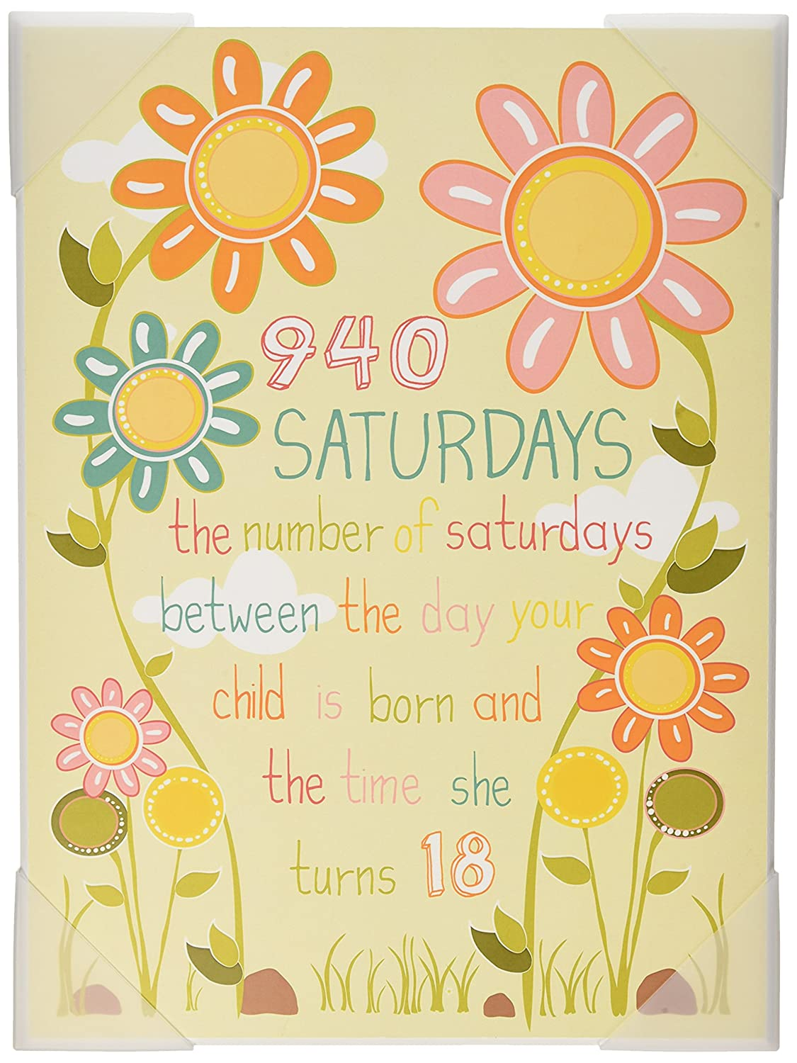 The Kids Room by Stupell Floral Graphic Art Wall Plaque, 940 Saturdays, 11 x 0.5 x 15, Proudly Made in USA Stupell Industries brp-1689