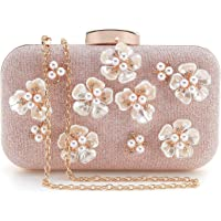 PARADOX (LABEL) Womens Glitter Floral Rhinestone Beaded Evening Bags Wedding Clutch Purse