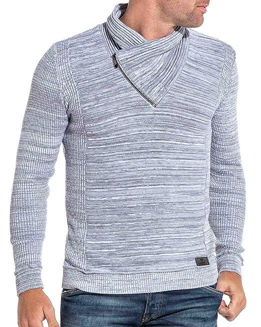 ea037edddf2dc BLZ Jeans - Pull Homme Gris chiné à col châle - Couleur  Gris - Taille