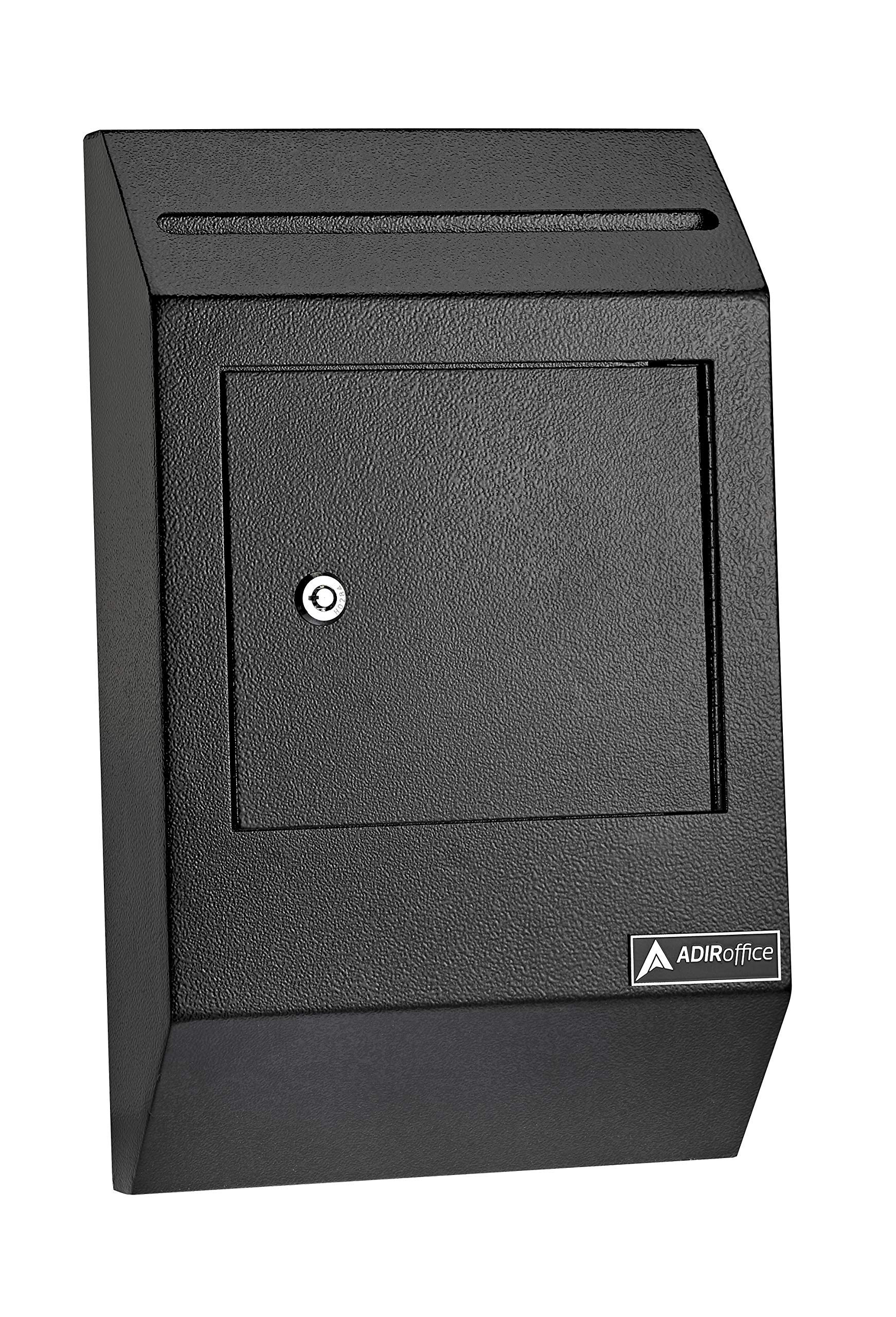 AdirOffice Drop Box - Heavy Duty Secured Storage with Lock - for Commercial Home Office or Business Use (Black) by AdirOffice