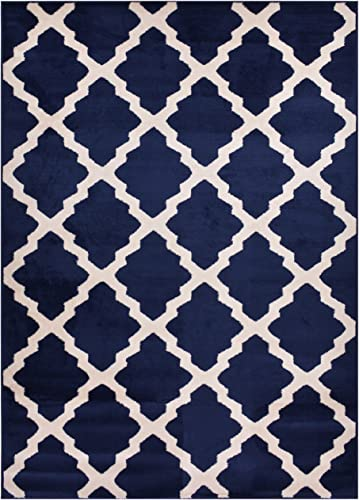 SoHome Comfy Collection Trellis Area Rug Lattice Modern Contemporary Rug 4 Color Options Navy Blue, 7 10 x 9 10