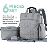 SoHo diaper bag backpack Kenneth 6 pcs nappy tote stylish bag for baby mom dad insulated unisex multifunction large capacity durable includes changing pad stroller straps Classic Gray