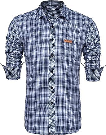 Burlady - Camisa de manga larga para hombre, diseño a cuadros: Amazon.es: Ropa y accesorios
