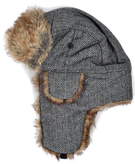 Amazon Zigzag Pattern Fur Trapper Aviator Hat Black Clothing