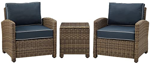 Crosley Furniture Bradenton 3-Piece Outdoor Wicker Conversation Set with Cushions – Navy