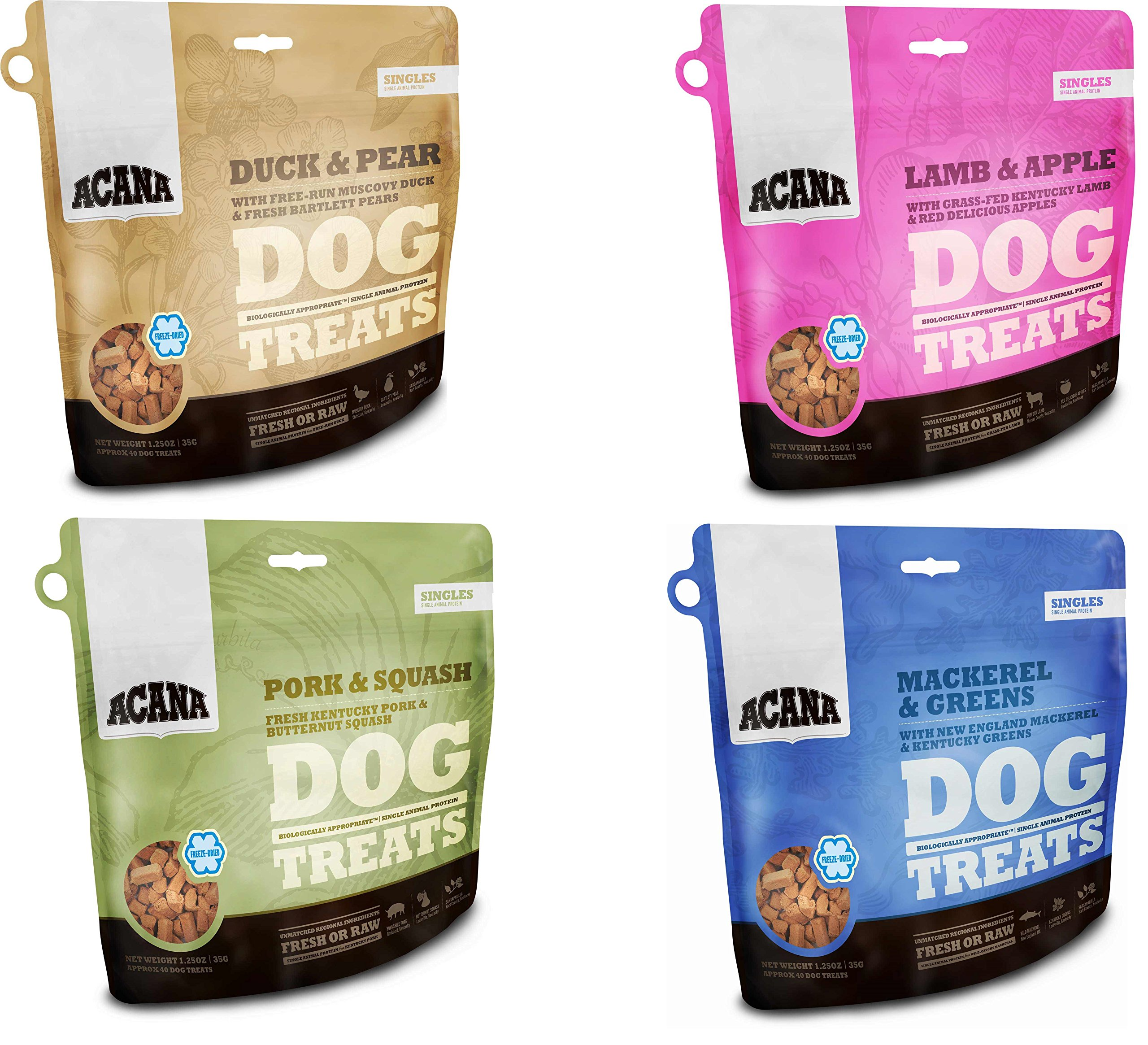 Acana Singles Dog Treats - Variety Pack of 4 (1-Duck and Pears, 1-Lamb and Apple, 1-Mackerel and Greens, and 1-Pork and Squash) 1.25oz Each