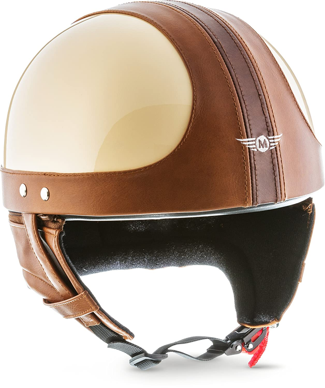 Extra Small Shell /· Click N secure TM clip /· borsa/· s-XXL in fibra di vetro casco Chopper Scooter ./Casco jet 55//–/64/cm Moto D22 . Retro motorino del motociclo giallo color crema