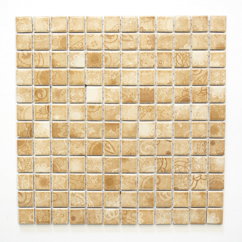 Mosaikfliesen Fliesen Mosaik K/üche Bad WC Wohnbereich Fliesenspiegel Keramik beige 6mm #360