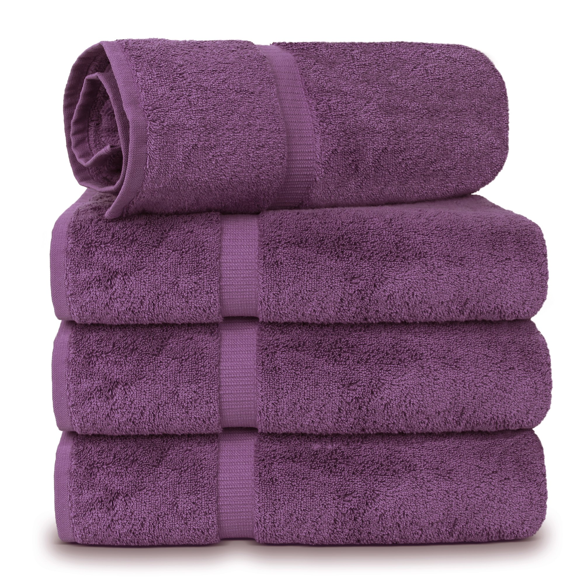 4 Piece Turkish Luxury Turkish Cotton Towel Set (Plum) - Eco Friendly, 4 Bath Towels by Turkuoise Turkish Towel