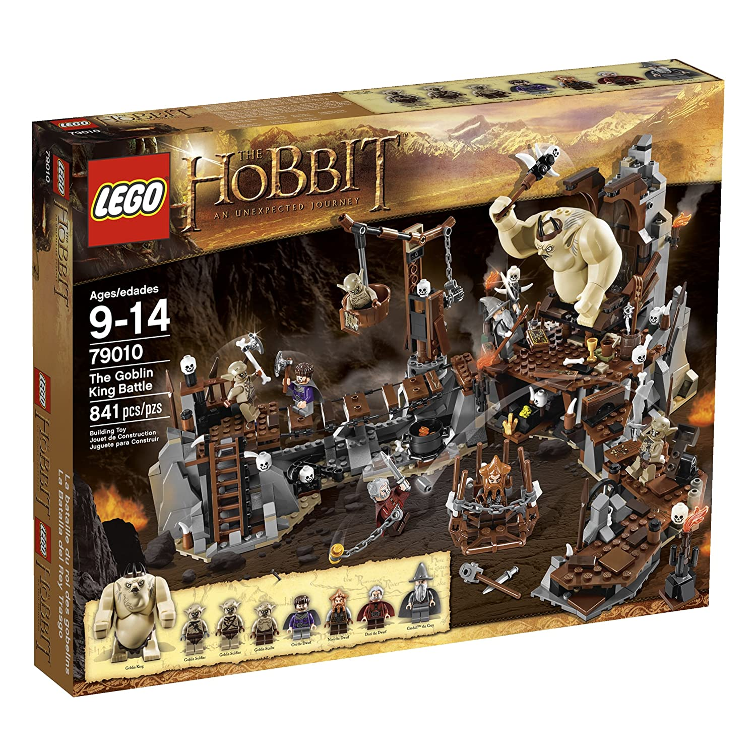 LEGO The Hobbit The Goblin King Battle Includes 7 minifigures: Dori the Dwarf, Nori the Dwarf, Ori the Dwarf, Gandalf the Grey, The Goblin King, Goblin Scribe and 2 Goblin Soldiers, all with assorted weapons Accessories include map, skulls, bone elements, torches with flame elements, golden crystals and The Goblin King's crown and bone scepter toy kids age 9 and over