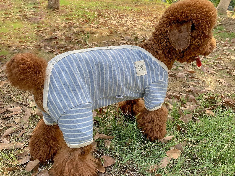 TONY HOBY Female//Male Pet Dog Pajamas Stripes 4 Legged Dog pjs Jumpsuit Soft Cotton Dog Clothes