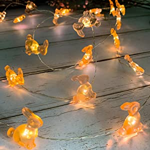 TAMOYO Easter Decoration Bunny Lights, Easter Bunny Rabbit Festive String Lights Battery Operated with Remote 10FT 40 LEDs for Birthday& Wedding Party, Indoor Outdoor Home Bedroom Décor