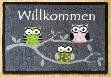 Door Mat With Owl Design, Foot Mat, Grau 3 Eulen