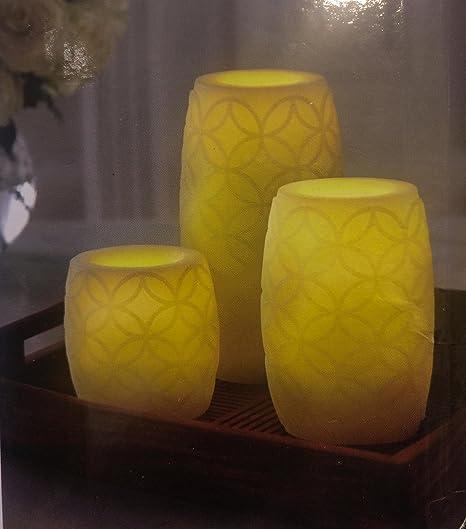 GOYAL® Aroma Flickering Yellow LED Pot Candles Big Size (Set of 3)