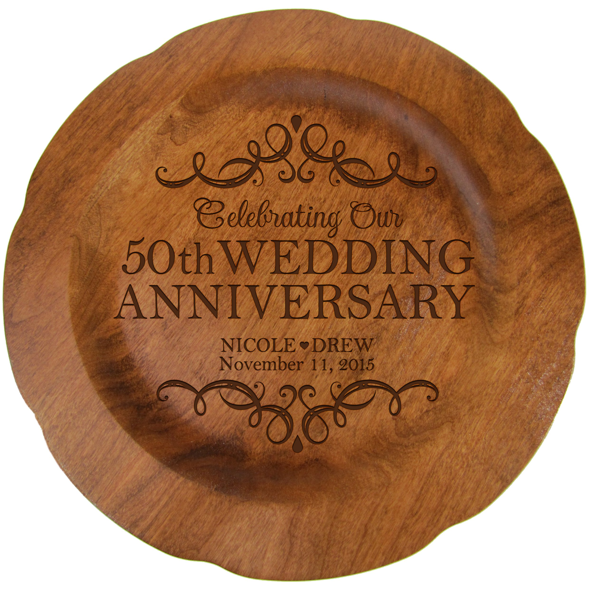 LifeSong Milestones Personalized 50th Wedding Anniversary Plate Gift for Her, Happy 50 Year Anniversary for Him, 12'' D Custom Engraved for Husband or Wife USA Made (50th Year with Scrolls) by LifeSong Milestones