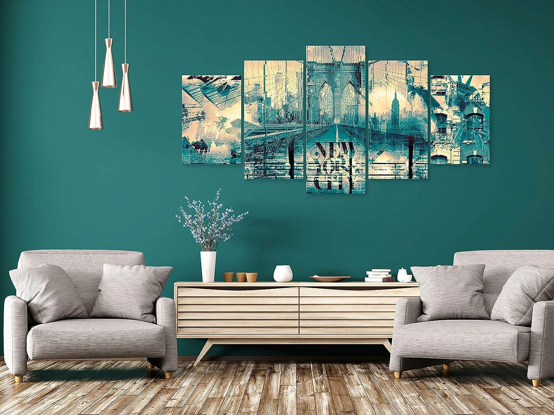 impresi/ón art/ística Material Tejido no Tejido impresi/ón de 5 Piezas Imagen gr/áfica Cuadro New York 100x50 cm Decoracion de Pared Panorama Ciudad City d-B-0220-b-n murando