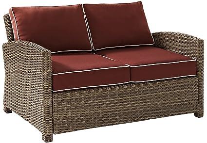 Crosley Furniture Bradenton Outdoor Wicker Loveseat With Cushions   Sangria