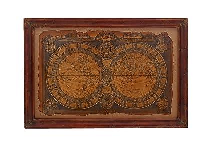 Amazon.com: Benzara Wall Art with Ancient 17th Century World Map ...
