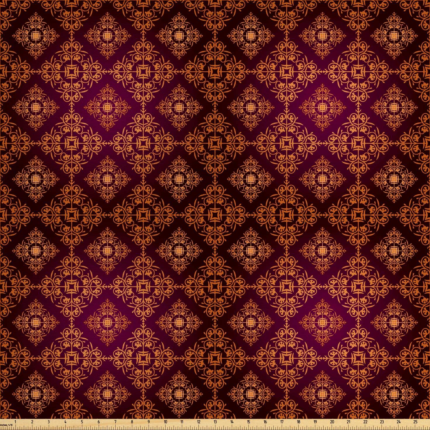 Ambesonne Damask Fabric by The Yard, Abstract Floral Pattern with Medieval Design Ornamental Victorian Image, Decorative Fabric for Upholstery and Home Accents,10 Yards, Orange Magenta Black by Ambesonne (Image #1)