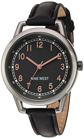 Nine West Womens NW/1699GNBK Easy-To-Read Dial Watch With Black Faux