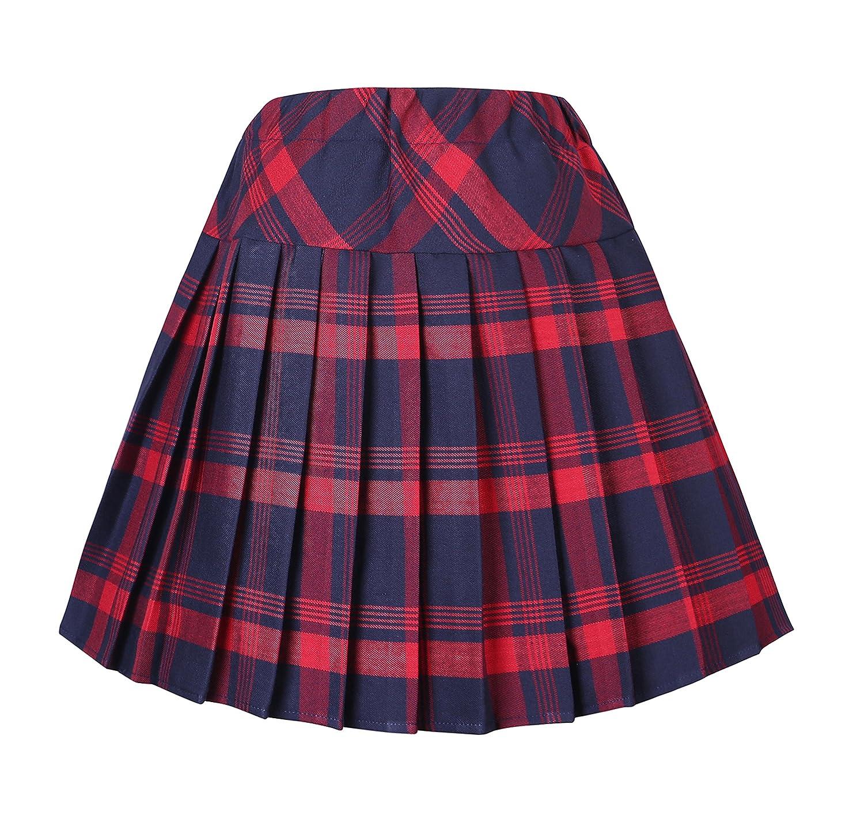 Urban GoCo Mujeres Falda Escocesa Plisada con Cintura El/ástica Escuela Uniforme Falda Cuadros