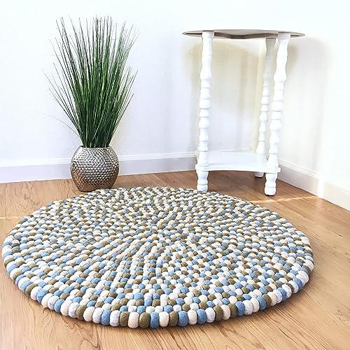 Amazon.com: Felt ball rug - Blue brown nursery carpet ...