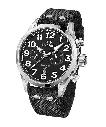 cfd3cf53eeec TW Steel Volante Reloj de pulsera VS7 Dual Time banda textil negro UVP  249eur  Amazon.es  Relojes