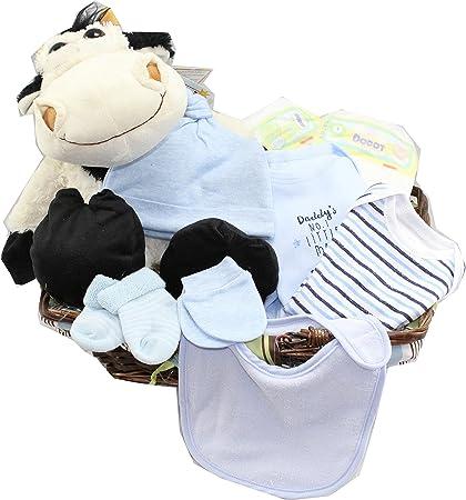 DRW - Cesta de Regalo para bebés (niño) recién Nacidos con Peluche ...