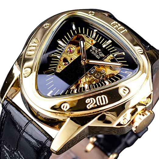 Winner Fashion mecánica Reloj de Pulsera triángulo Racing Dial Dorado Esqueleto Dial: Amazon.es: Relojes