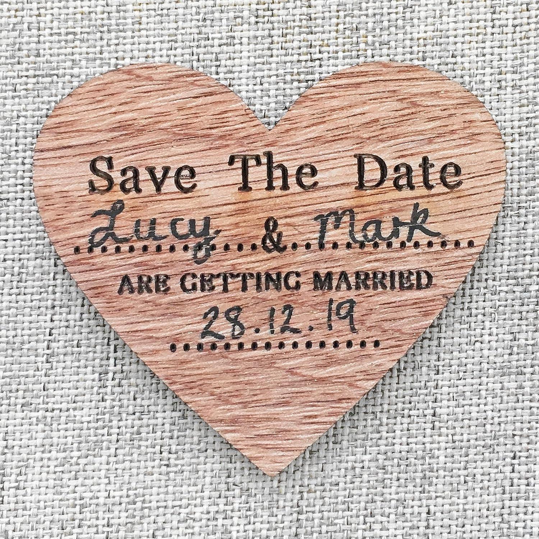 Aimants de r/éfrig/érateur Save The Date en bois en forme de c/œur D/écoration vintage parfaite pour invitation de mariage 80mm x 70mm marron